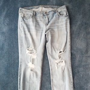 Old navy boyfriend fit straight destructed jeans